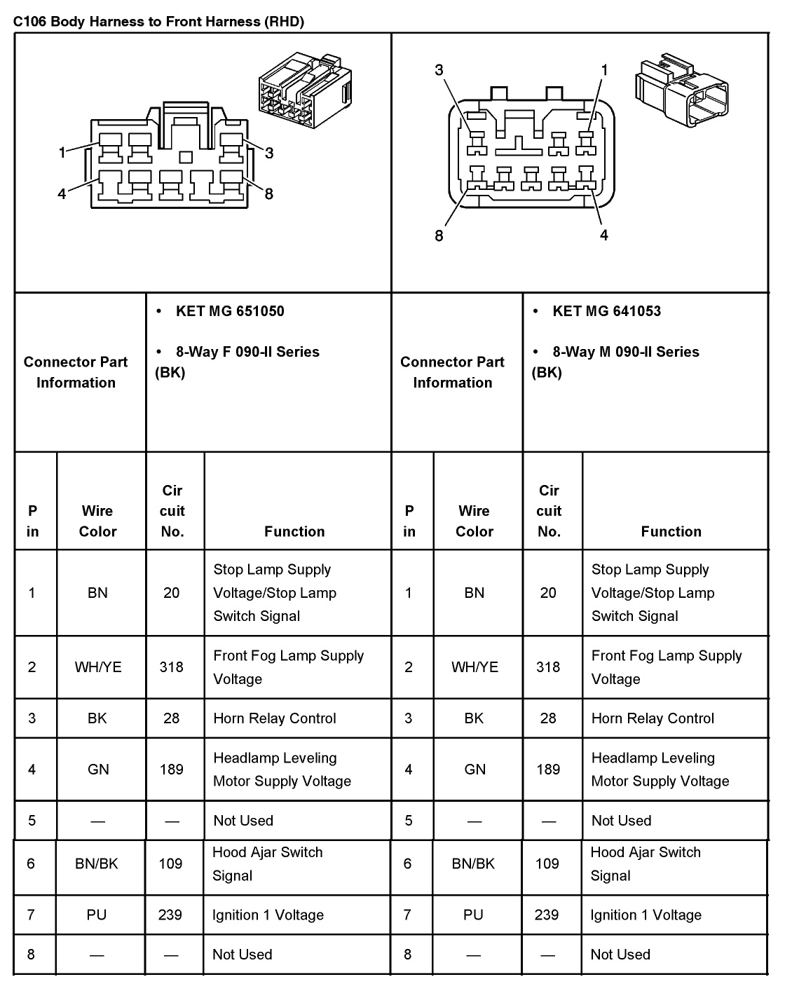 2005 aveo master connector list and diagrams